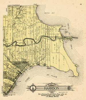 1916, Harrison Township, Lake St. Clair, Clinton River, Belvidere Bay, Tucker's Bay, Anchor Bay, Po