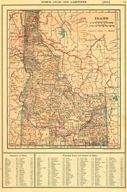 1917, Idaho State Map 1917, Idaho, United States