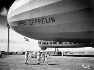 1920s-1930s People Looking at Gondola of Graf Zeppelin LZ-127 German Rigid Lighter Than Air Airship