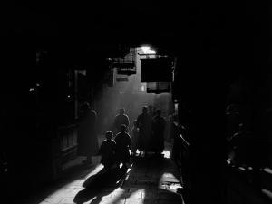 1920s-1930s Silhouetted People Mysterious Orient Dramatic Moody Backlit Street Scene in Old China