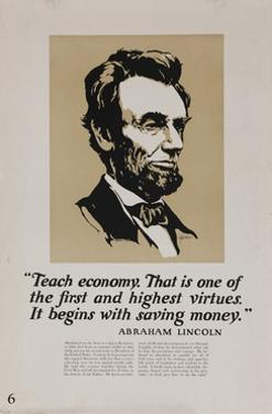 1920s American Banking Poster, Abe Lincoln Teach Economy