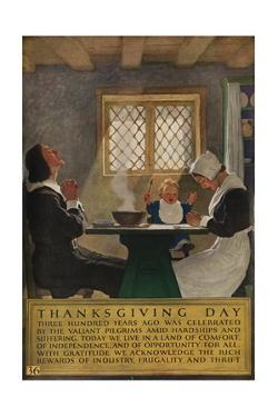 1920s American Banking Poster, Thanksgiving Day