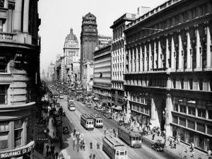 1920s Market Street Looking Toward the Ferry Building Track for Cable Cars San Francisco