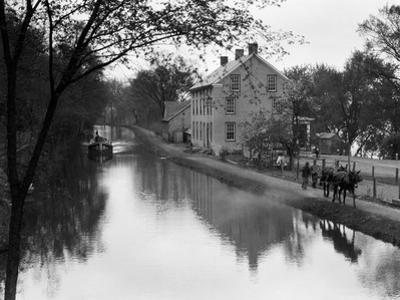 1920s Mules Towing Boat Down Lehigh Navigation Canal in New Hope Pennsylvania