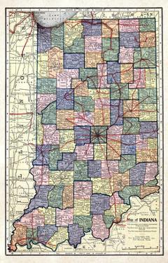 1922, Indiana State Map, Indiana, United States