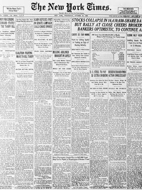 1929 Cover of New York times Newspaper