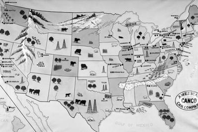 1930s-1940s Map of United States Showing Agricultural and Industrial Resources