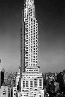 1930s-1940s Tall Narrow Vertical View of Art Deco Style Chrysler Building Lexington Ave 42nd St