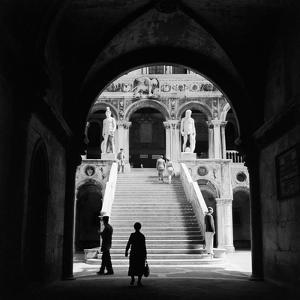 1930s-1940s Venice, Italy Doge's Palace View Through Archway to Staircase with Statues of Neptune