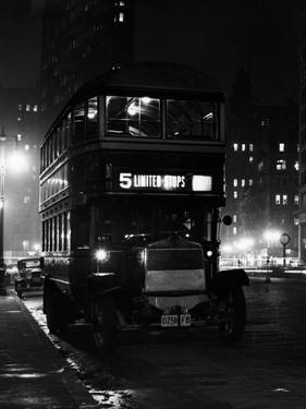 1930s Double Decker 5th Avenue Bus at Night Near Flatiron Building New York City