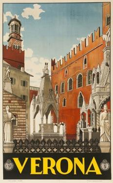 1930s Italian Travel Poster with Scaliger Tombs, Verona