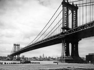 1930s View of Manhattan Bridge across East River from Brooklyn New York City