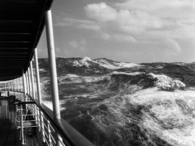 1930s View of Rough Choppy Seas from Deck of Cruise Ship