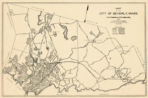 1932, Beverly City Map, Massachusetts, United States