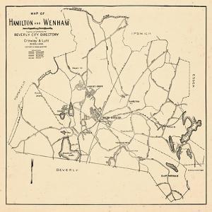 1932, Hamilton and Wenham Map, Massachusetts, United States