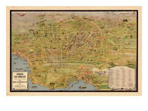 1932, Los Angeles Tourist Map, California, United States
