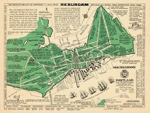 1932, Portland Historical Facts Map, Maine, United States