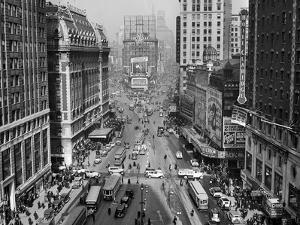 1935 Times Square Looking North from Times Tower Midtown Manhattan Pedestrians Traffic Car