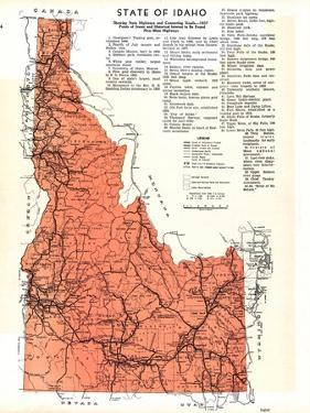 1937, Idaho State Map, Idaho, United States