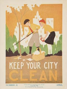 1938 Character Culture Citizenship Guide Poster, Keep Ypur City Clean