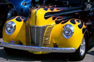 1939 1940 Ford Flame Job Painted Hot Rod Automobile Hood Headlights Grill Front Bumper