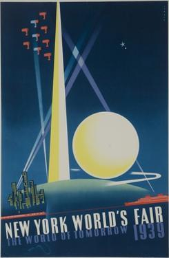 1939 New York World's Fair Poster, the World of Tomorrow, Blue