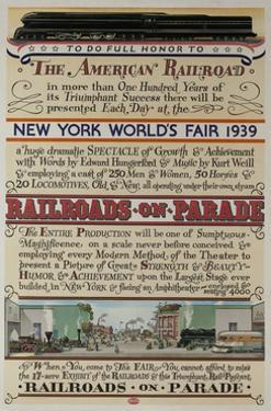 1939 New York World's Fair Poster, the World of Tomorrow, Railroads on Parade