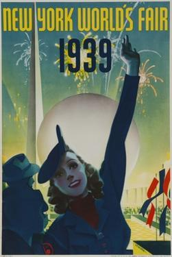 1939 New York World's Fair Poster, Woman in Blue