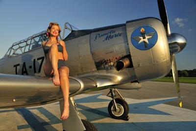 1940's Pin-Up Girl Sitting on the Wing of a World War II T-6 Texan
