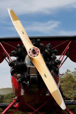 1940s Biplane Wooden Propellor Engine Photo Poster