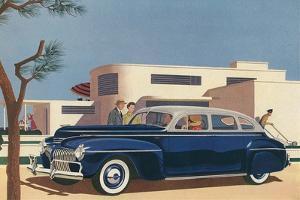 1940s Blue Sedan Automobile