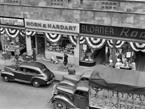 1940s Store Fronts Decorated with Parade Bunting Main Street 82nd Street Jackson Heights Queens