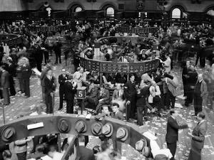 1940s Trading in Progress on Floor of New York Stock Exchange NYC