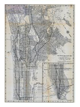 1941, Manhattan and The Bronx Map, New York, United States