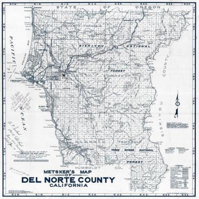 1949, Del Norte County Wall Map, California, United States