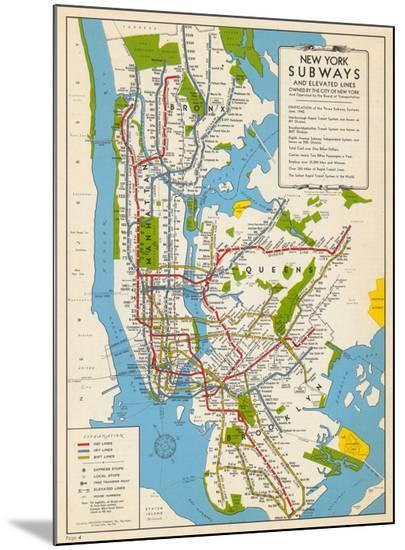 1949, New York Subway Map, New York, United States--Mounted Print