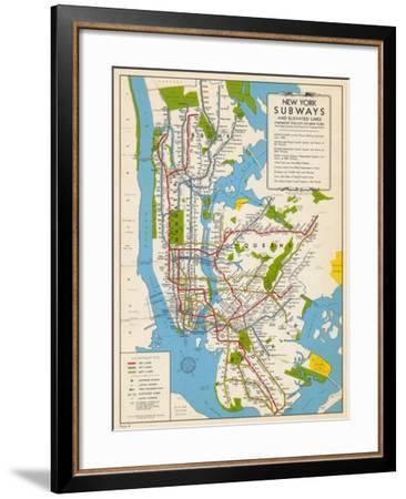 1949, New York Subway Map, New York, United States--Framed Giclee Print