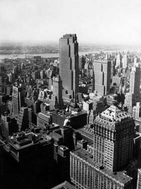 1950s Aerial View of Rockefeller Center Radio City in Middle Grand Central Station