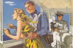 1950s Couple in Cockpit of Cruise Ship