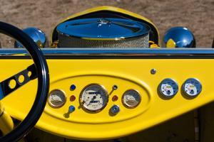 1950s Hot Road dashboard at antique car show, Cape Ann, Gloucester, Massachusetts, USA