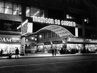 1950s Madison Square Garden Marquee Night West 49th Street Billing Ice Capades of 1953 Building
