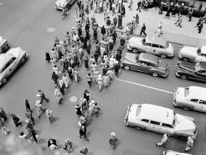 1950s New York City, NY 5th Avenue Overhead View of Traffic and Pedestrians Crossing Street