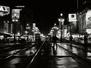 1950s Night Scene Canal Street New Orleans,, Louisiana
