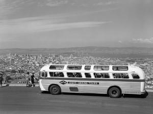 1950s Sightseeing Tour Bus Parked at Twin Peaks for View of San Francisco and Bay Area California