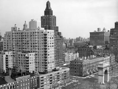 1950s View Washington Square North with Arch Fifth Avenue Buildings Number 1 and 2