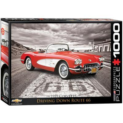 1959 Corvette Driving Down Route 66 1000 Piece Puzzle