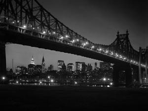 1960s Queensboro Bridge and Manhattan Skyline at Night New York City