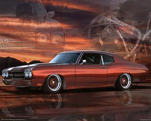 1975 Chevy Chevelle Red Car Art Print Poster