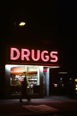 1980s Drug Store at Night Pink Neon Sign
