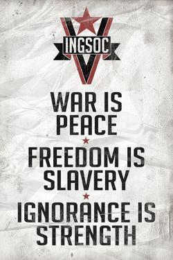 1984 INGSOC Big Brother Political Slogans Plastic Sign